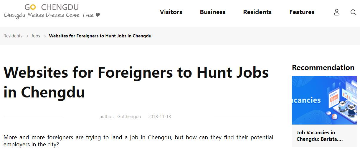 Websites for Foreigners to Hunt Jobs in Chengdu